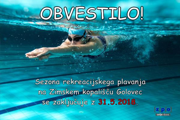 Sezona plavanja na Zimskem kopališču Golovec se končuje