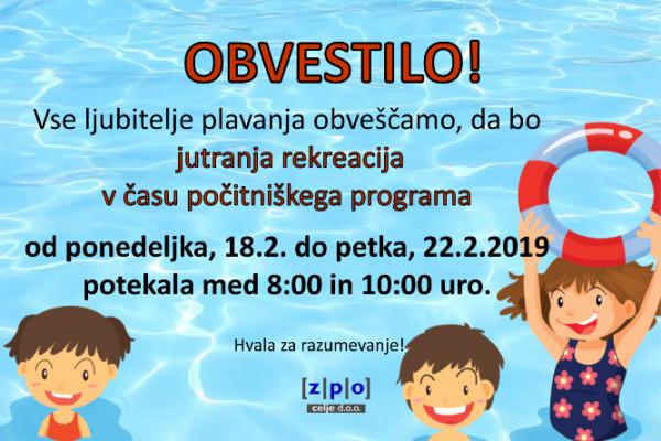 V tednu počitnic bo jutranja rekreacija plavanja med 8:00 in 10:00 uro.