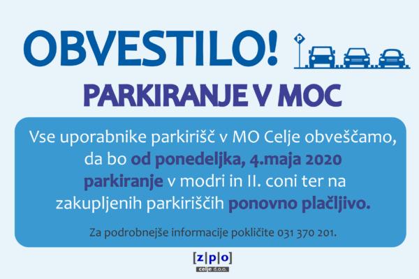 Razveljavitev sklepa o brezplačnem parkiranju v MOC