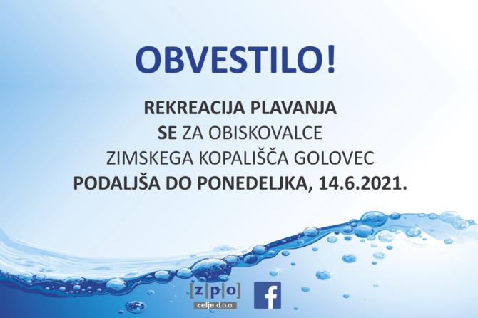 Sezona rekreacije plavanja na Zimskem kopališču Golovec se podaljšuje…